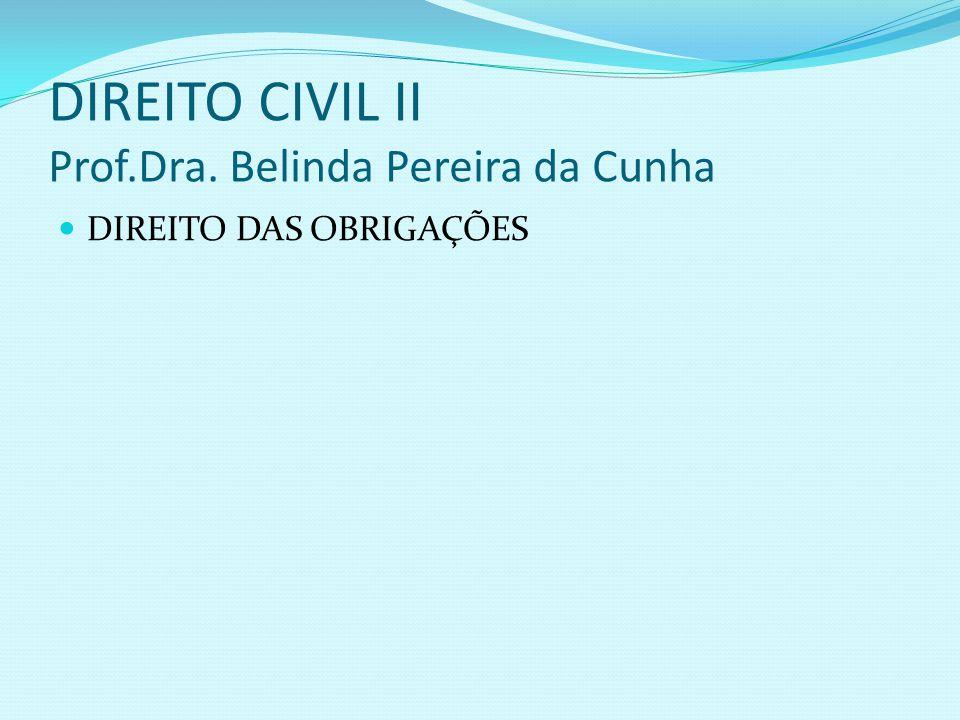 DIREITO CIVIL II Prof.Dra. Belinda Pereira da Cunha DIREITO DAS OBRIGAÇÕES