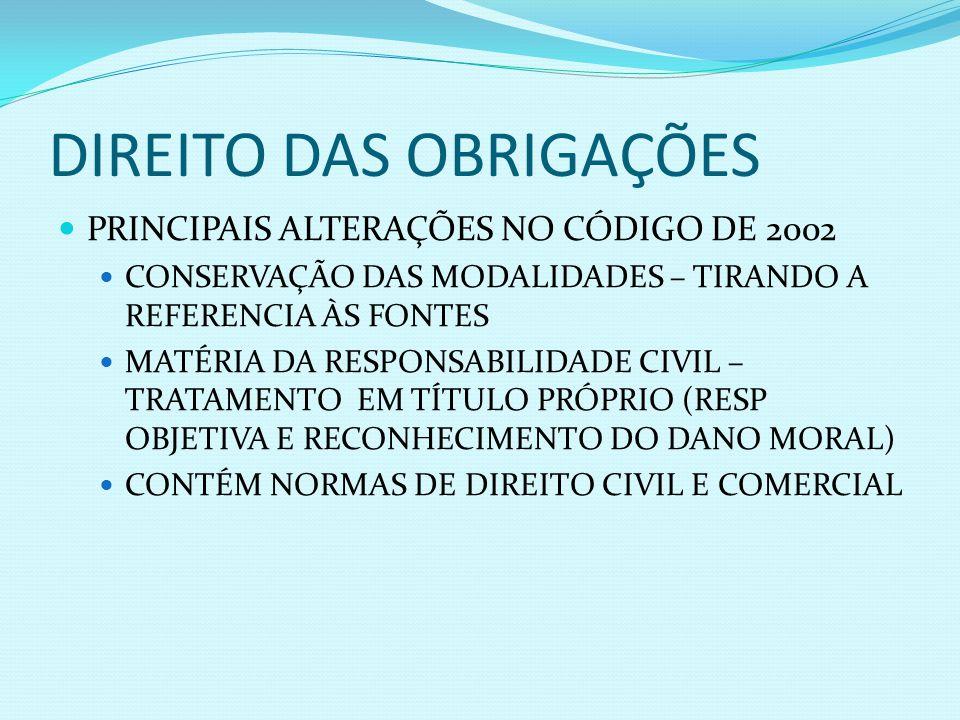 DIREITO DAS OBRIGAÇÕES PRINCIPAIS ALTERAÇÕES NO CÓDIGO DE 2002 CONSERVAÇÃO DAS MODALIDADES – TIRANDO A REFERENCIA ÀS FONTES MATÉRIA DA RESPONSABILIDAD