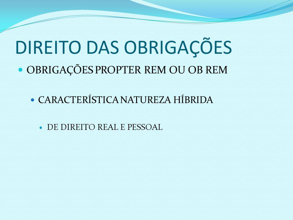 DIREITO DAS OBRIGAÇÕES OBRIGAÇÕES PROPTER REM OU OB REM CARACTERÍSTICA NATUREZA HÍBRIDA DE DIREITO REAL E PESSOAL