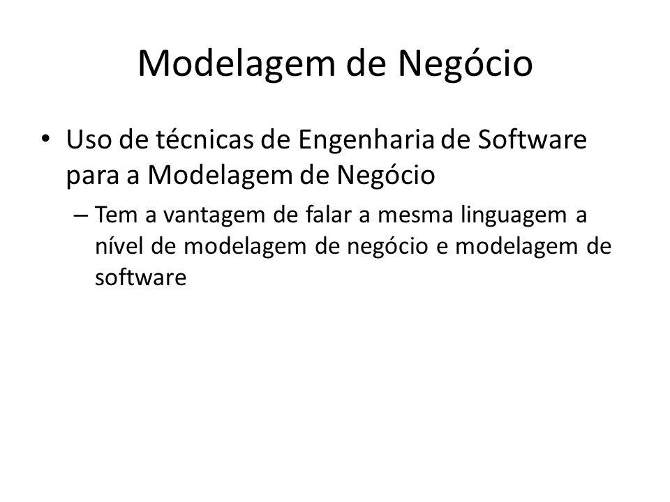 Modelagem de Negócio Uso de técnicas de Engenharia de Software para a Modelagem de Negócio – Tem a vantagem de falar a mesma linguagem a nível de modelagem de negócio e modelagem de software