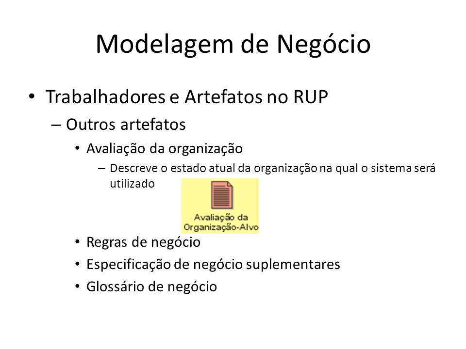 Modelagem de Negócio Trabalhadores e Artefatos no RUP – Outros artefatos Avaliação da organização – Descreve o estado atual da organização na qual o sistema será utilizado Regras de negócio Especificação de negócio suplementares Glossário de negócio