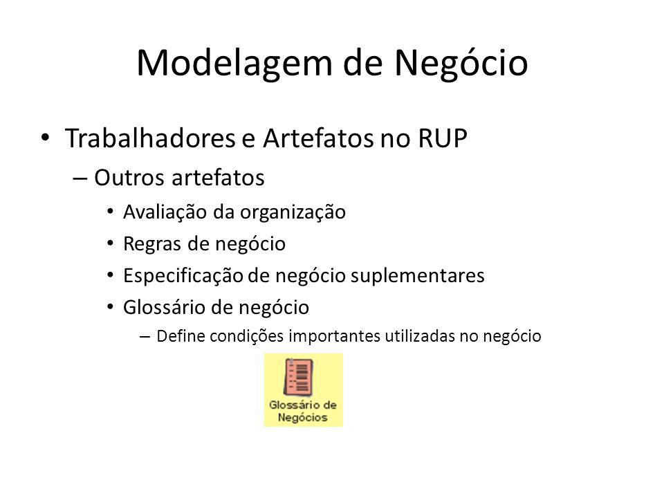 Modelagem de Negócio Trabalhadores e Artefatos no RUP – Outros artefatos Avaliação da organização Regras de negócio Especificação de negócio suplementares Glossário de negócio – Define condições importantes utilizadas no negócio