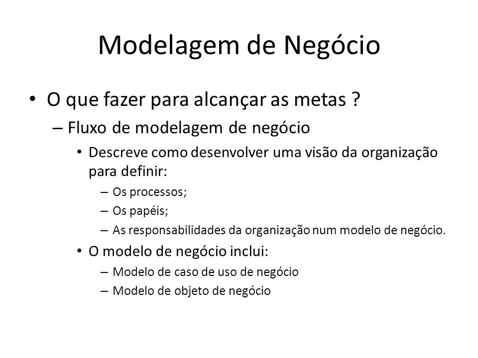 Modelagem de Negócio Trabalhadores e Artefatos no RUP – Outros artefatos Avaliação da organização Regras de negócio Especificação de negócio suplementares Glossário de negócio
