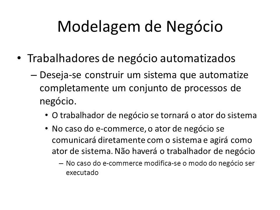 Modelagem de Negócio Trabalhadores de negócio automatizados – Deseja-se construir um sistema que automatize completamente um conjunto de processos de negócio.