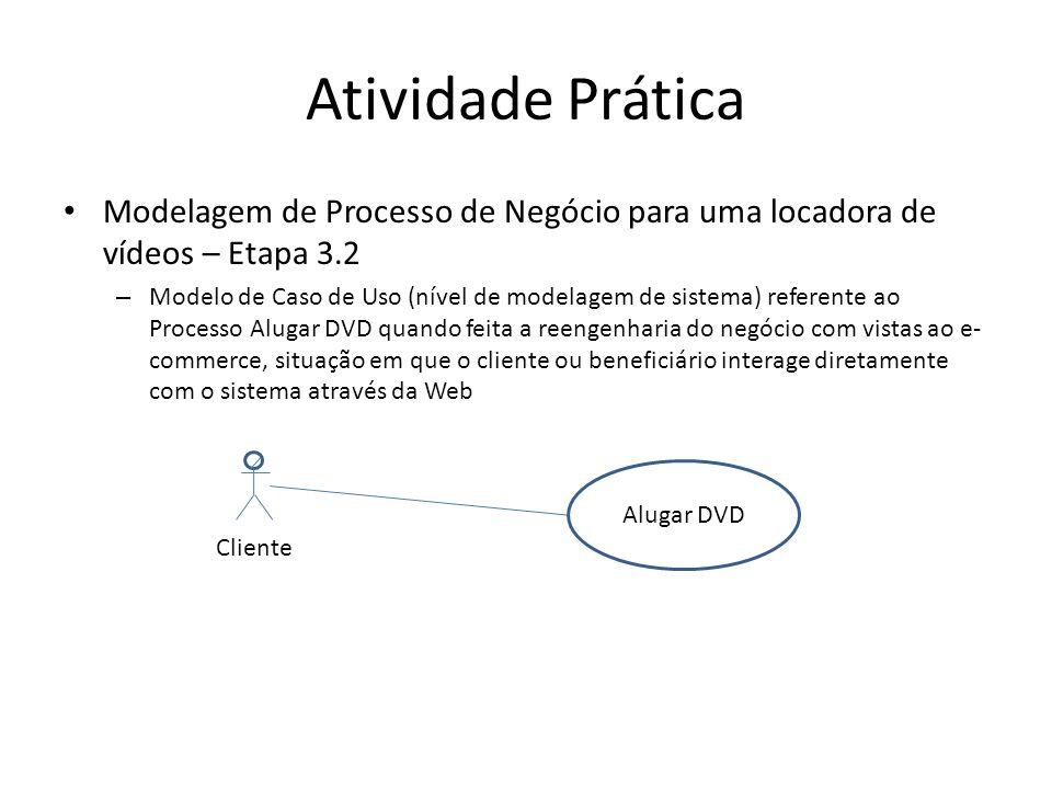 Atividade Prática Modelagem de Processo de Negócio para uma locadora de vídeos – Etapa 3.2 – Modelo de Caso de Uso (nível de modelagem de sistema) referente ao Processo Alugar DVD quando feita a reengenharia do negócio com vistas ao e- commerce, situação em que o cliente ou beneficiário interage diretamente com o sistema através da Web Cliente Alugar DVD
