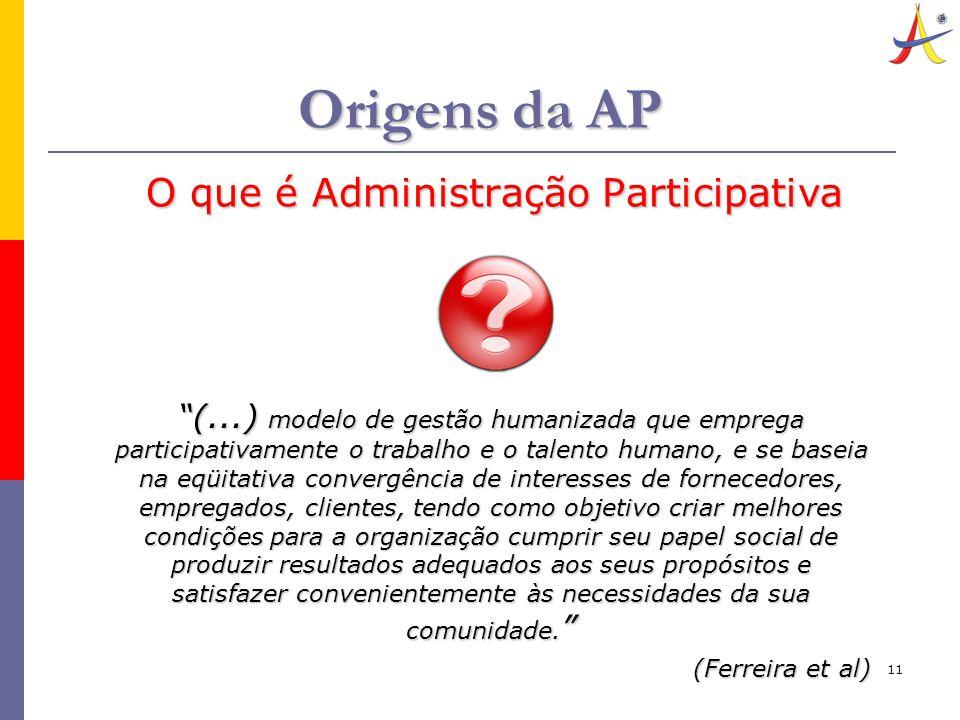 """11 Origens da AP O que é Administração Participativa """"(...) modelo de gestão humanizada que emprega participativamente o trabalho e o talento humano,"""