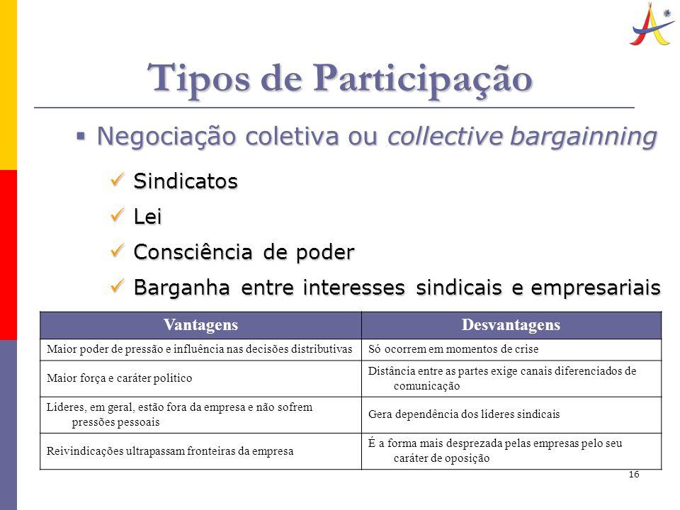 16 Tipos de Participação  Negociação coletiva ou collective bargainning Sindicatos Sindicatos Lei Lei Consciência de poder Consciência de poder Barga