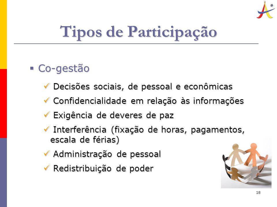 18 Tipos de Participação  Co-gestão Decisões sociais, de pessoal e econômicas Decisões sociais, de pessoal e econômicas Confidencialidade em relação