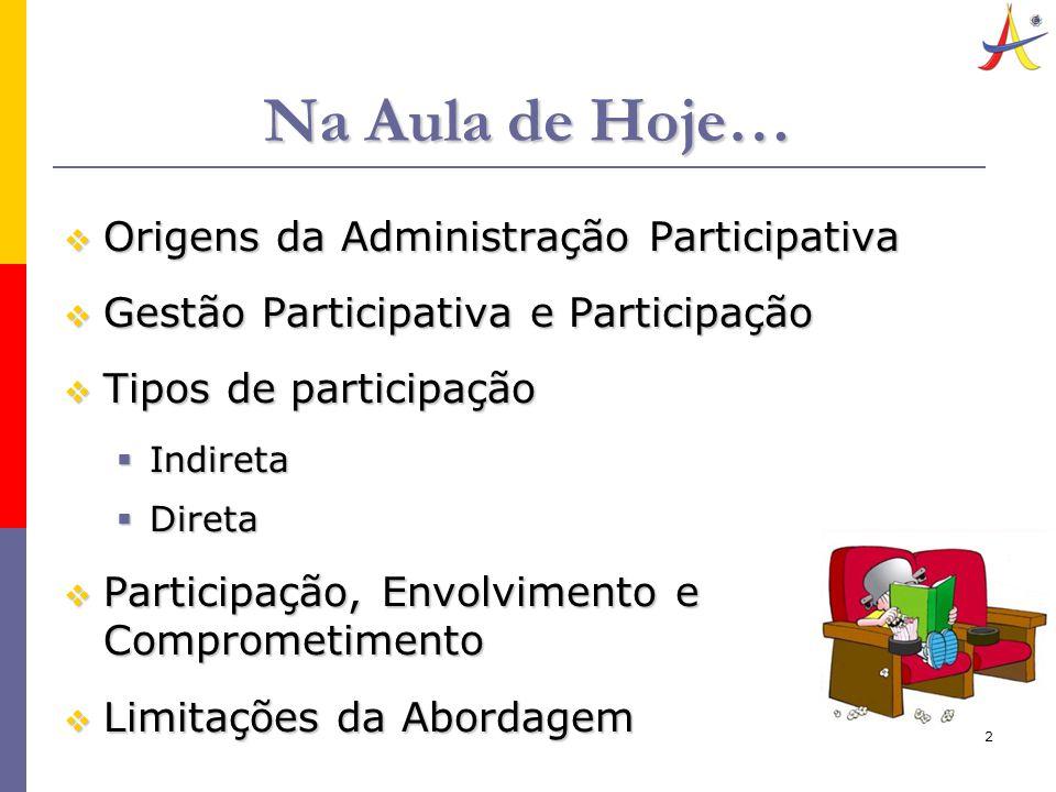 2 Na Aula de Hoje…  Origens da Administração Participativa  Gestão Participativa e Participação  Tipos de participação  Indireta  Direta  Participação, Envolvimento e Comprometimento  Limitações da Abordagem