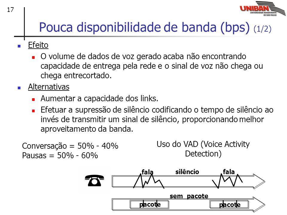 17 Pouca disponibilidade de banda (bps) (1/2) Efeito O volume de dados de voz gerado acaba não encontrando capacidade de entrega pela rede e o sinal de voz não chega ou chega entrecortado.
