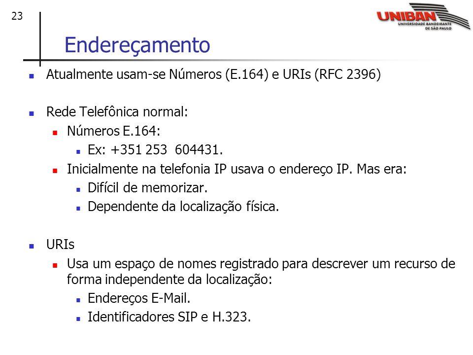 23 Endereçamento Atualmente usam-se Números (E.164) e URIs (RFC 2396) Rede Telefônica normal: Números E.164: Ex: +351 253 604431.