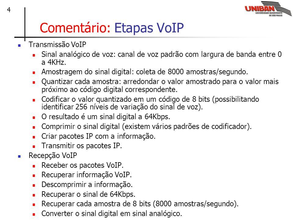 15 Cenário 4: VoIP completo com vídeo Solução utilizando PABX tradicional com protocolo ISDN (RDSI – Rede Digital de Serviços Integrados), video-conferência e IP Telephony