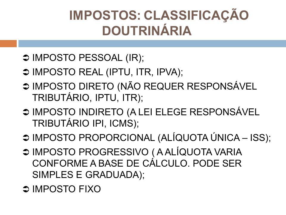 IMPOSTOS: CLASSIFICAÇÃO DOUTRINÁRIA  IMPOSTO PESSOAL (IR);  IMPOSTO REAL (IPTU, ITR, IPVA);  IMPOSTO DIRETO (NÃO REQUER RESPONSÁVEL TRIBUTÁRIO, IPT