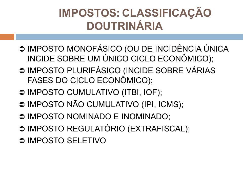 IMPOSTOS: CLASSIFICAÇÃO DOUTRINÁRIA  IMPOSTO MONOFÁSICO (OU DE INCIDÊNCIA ÚNICA INCIDE SOBRE UM ÚNICO CICLO ECONÔMICO);  IMPOSTO PLURIFÁSICO (INCIDE