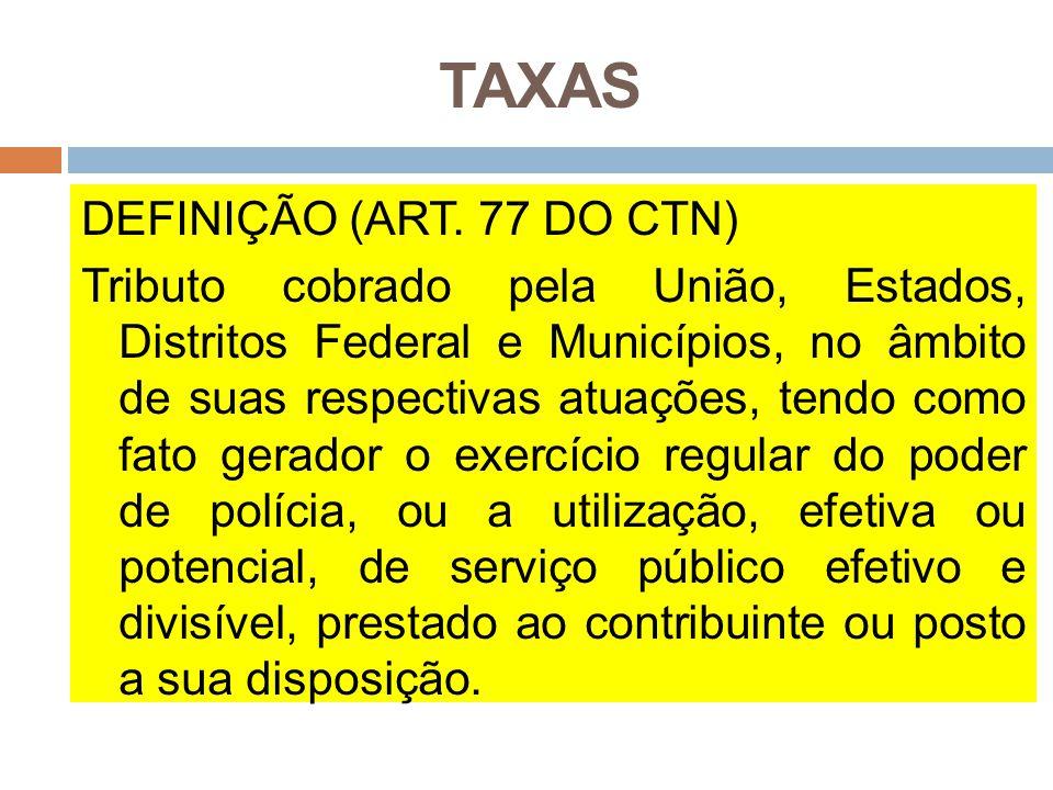 TAXAS DEFINIÇÃO (ART. 77 DO CTN) Tributo cobrado pela União, Estados, Distritos Federal e Municípios, no âmbito de suas respectivas atuações, tendo co