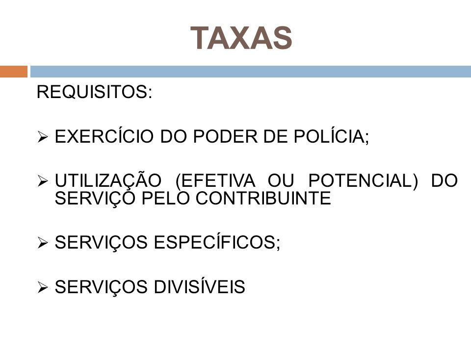 TAXAS REQUISITOS:  EXERCÍCIO DO PODER DE POLÍCIA;  UTILIZAÇÃO (EFETIVA OU POTENCIAL) DO SERVIÇO PELO CONTRIBUINTE  SERVIÇOS ESPECÍFICOS;  SERVIÇOS