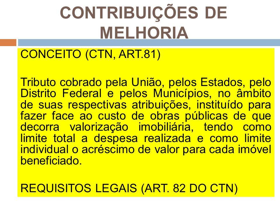 CONTRIBUIÇÕES DE MELHORIA CONCEITO (CTN, ART.81) Tributo cobrado pela União, pelos Estados, pelo Distrito Federal e pelos Municípios, no âmbito de sua