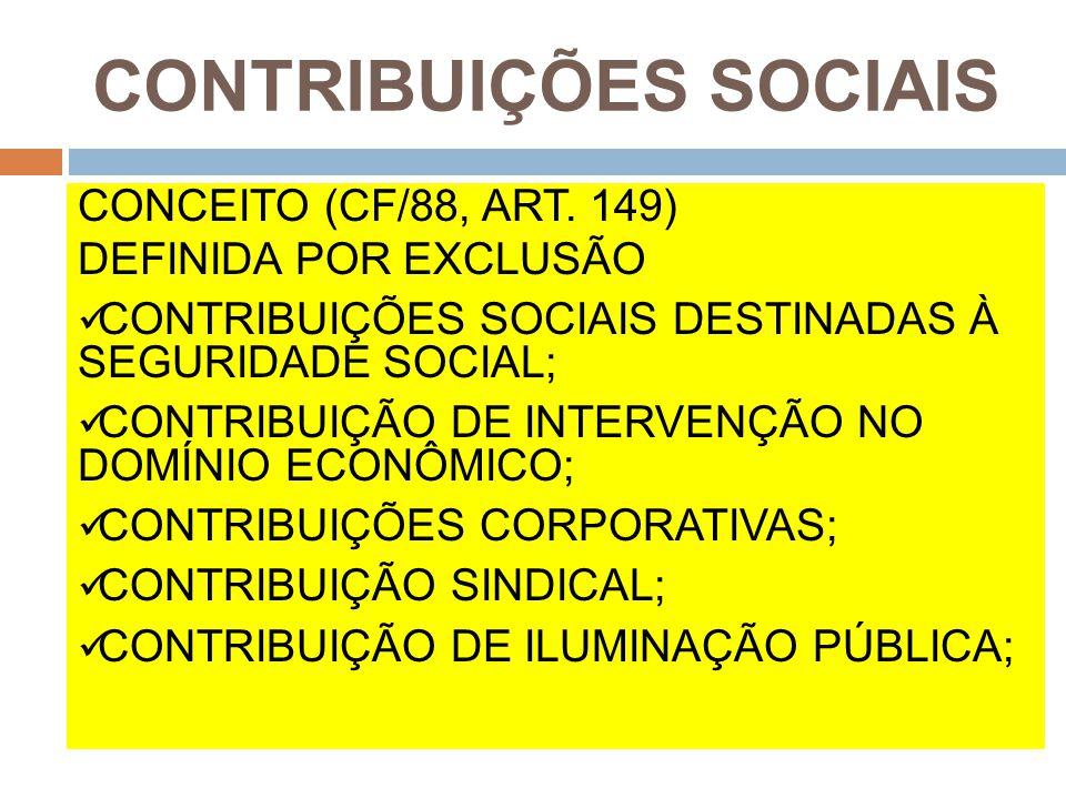 CONTRIBUIÇÕES SOCIAIS CONCEITO (CF/88, ART. 149) DEFINIDA POR EXCLUSÃO CONTRIBUIÇÕES SOCIAIS DESTINADAS À SEGURIDADE SOCIAL; CONTRIBUIÇÃO DE INTERVENÇ