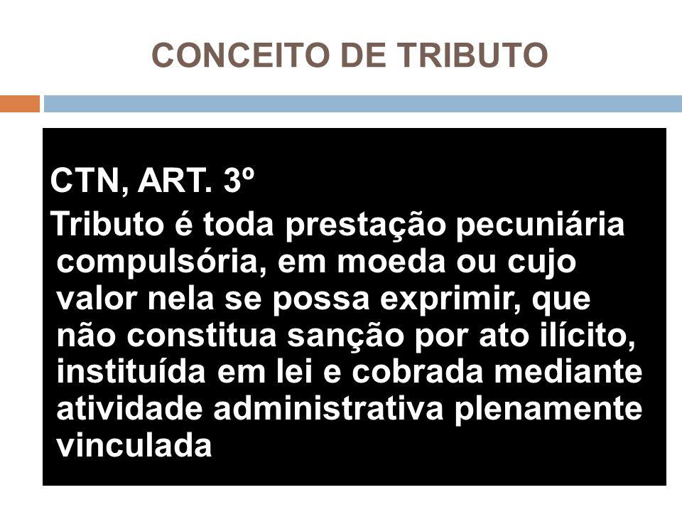 CONCEITO DE TRIBUTO CTN, ART. 3º Tributo é toda prestação pecuniária compulsória, em moeda ou cujo valor nela se possa exprimir, que não constitua san