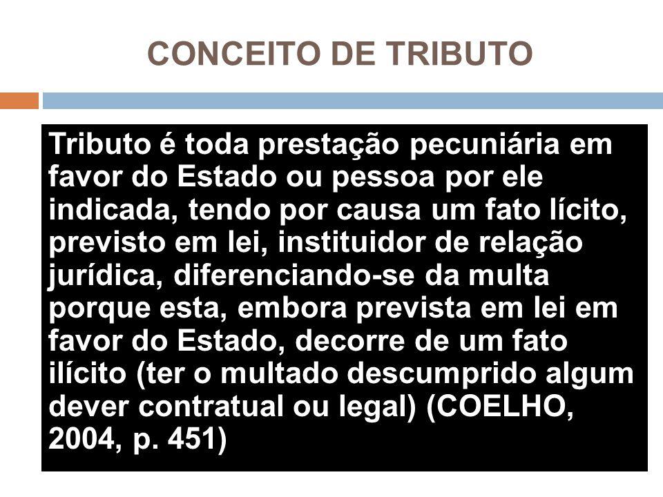 CONCEITO DE TRIBUTO Tributo é toda prestação pecuniária em favor do Estado ou pessoa por ele indicada, tendo por causa um fato lícito, previsto em lei