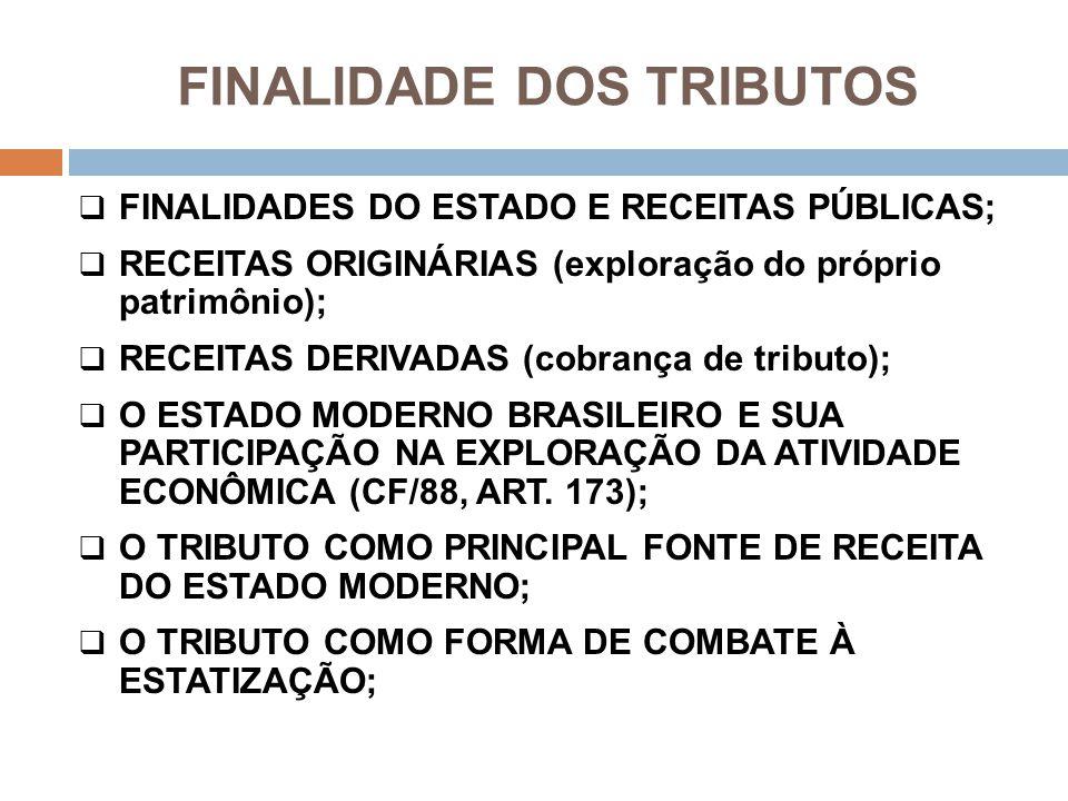 FINALIDADE DOS TRIBUTOS  FINALIDADES DO ESTADO E RECEITAS PÚBLICAS;  RECEITAS ORIGINÁRIAS (exploração do próprio patrimônio);  RECEITAS DERIVADAS (