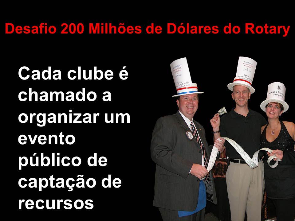 Cada clube é chamado a organizar um evento público de captação de recursos Desafio 200 Milhões de Dólares do Rotary