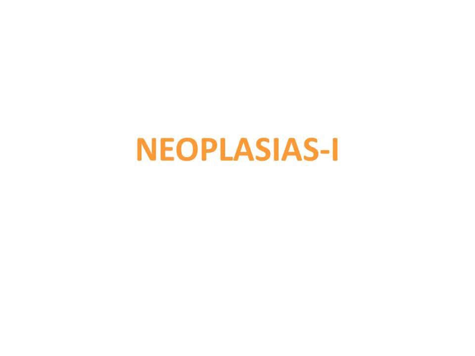 Proliferações locais de clones celulares cuja reprodução foge ao controle normal, e que tendem para um tipo de crescimento autônomo e progressivo, e para a perda de diferenciação. NEOPLASIAS