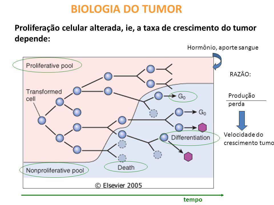 BIOLOGIA DO TUMOR Proliferação celular alterada, ie, a taxa de crescimento do tumor depende: tempo Produção perda RAZÂO: Velocidade do crescimento tumoral Hormônio, aporte sangue