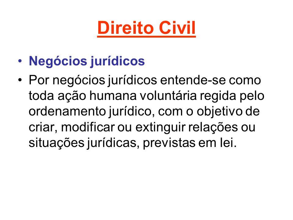 Direito Civil Negócios jurídicos Por negócios jurídicos entende-se como toda ação humana voluntária regida pelo ordenamento jurídico, com o objetivo de criar, modificar ou extinguir relações ou situações jurídicas, previstas em lei.