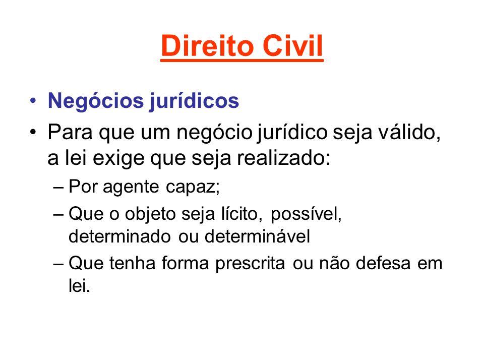 Direito Civil Negócios jurídicos Para que um negócio jurídico seja válido, a lei exige que seja realizado: –Por agente capaz; –Que o objeto seja lícit