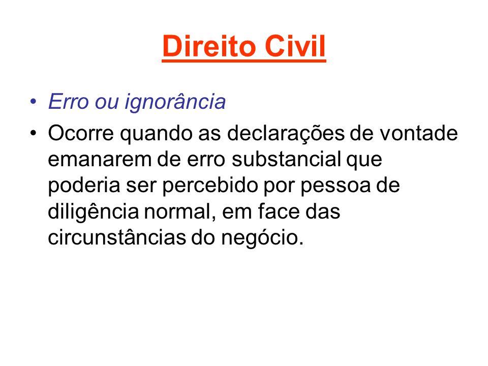 Direito Civil Erro ou ignorância Ocorre quando as declarações de vontade emanarem de erro substancial que poderia ser percebido por pessoa de diligênc