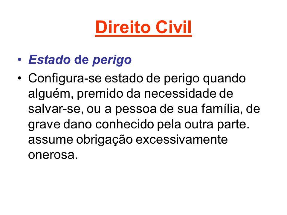 Direito Civil Estado de perigo Configura-se estado de perigo quando alguém, premido da necessidade de salvar-se, ou a pessoa de sua família, de grave dano conhecido pela outra parte.
