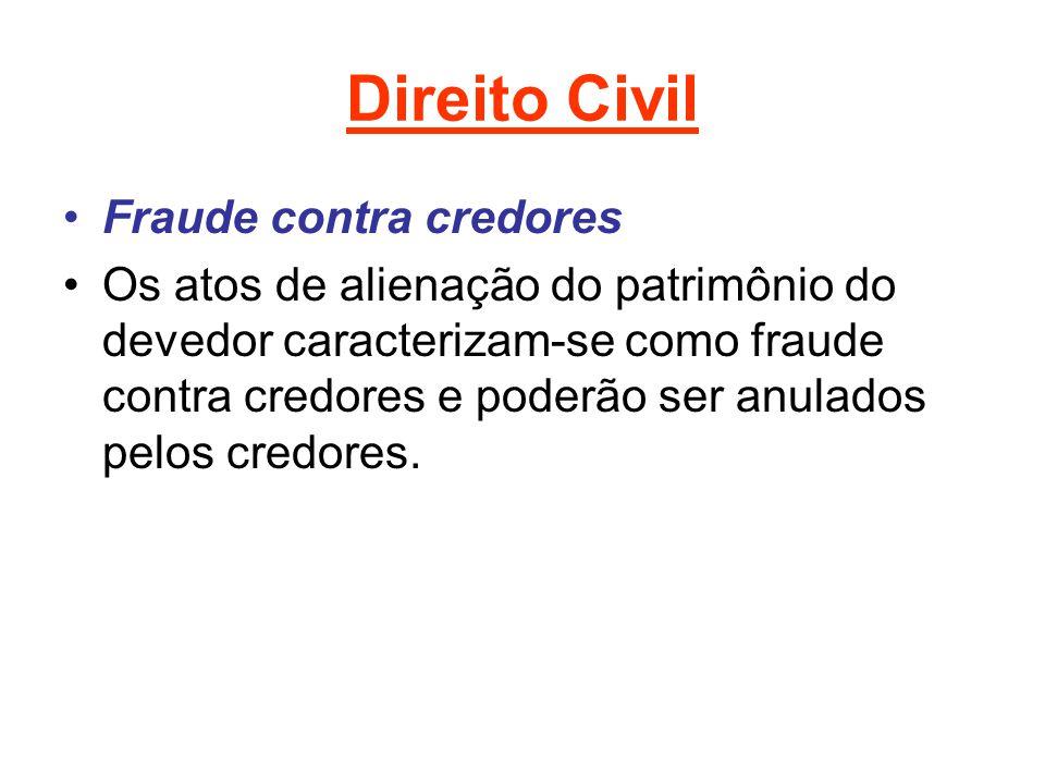 Direito Civil Fraude contra credores Os atos de alienação do patrimônio do devedor caracterizam-se como fraude contra credores e poderão ser anulados pelos credores.
