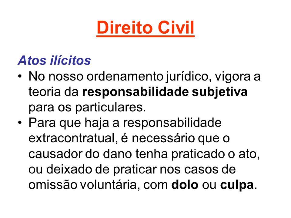 Direito Civil Atos ilícitos No nosso ordenamento jurídico, vigora a teoria da responsabilidade subjetiva para os particulares. Para que haja a respons