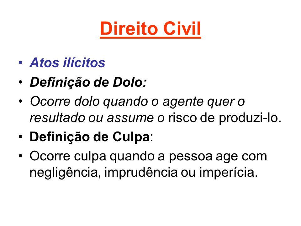 Direito Civil Atos ilícitos Definição de Dolo: Ocorre dolo quando o agente quer o resultado ou assume o risco de produzi-lo. Definição de Culpa: Ocorr