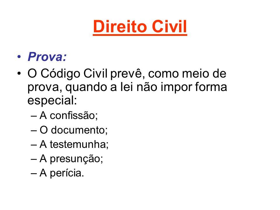 Direito Civil Prova: O Código Civil prevê, como meio de prova, quando a lei não impor forma especial: –A confissão; –O documento; –A testemunha; –A pr