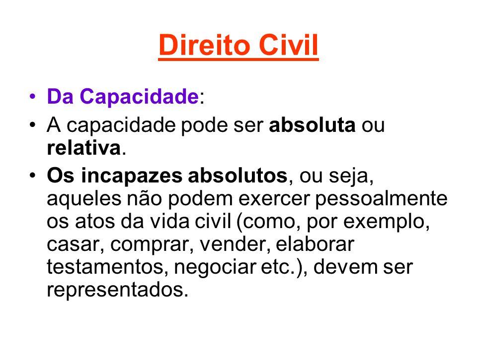 Direito Civil Da Capacidade: A capacidade pode ser absoluta ou relativa. Os incapazes absolutos, ou seja, aqueles não podem exercer pessoalmente os at