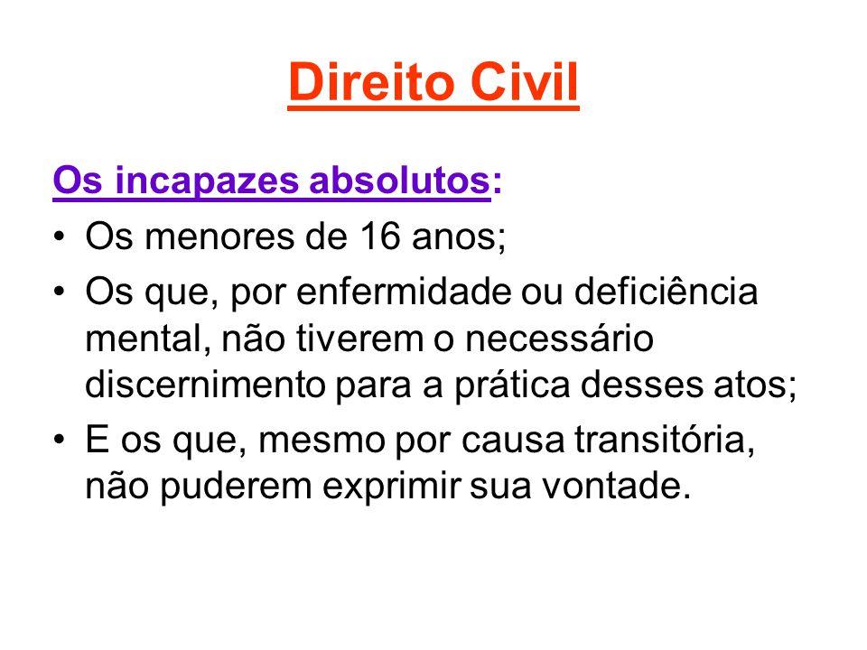 Direito Civil Os incapazes absolutos: Os menores de 16 anos; Os que, por enfermidade ou deficiência mental, não tiverem o necessário discernimento par