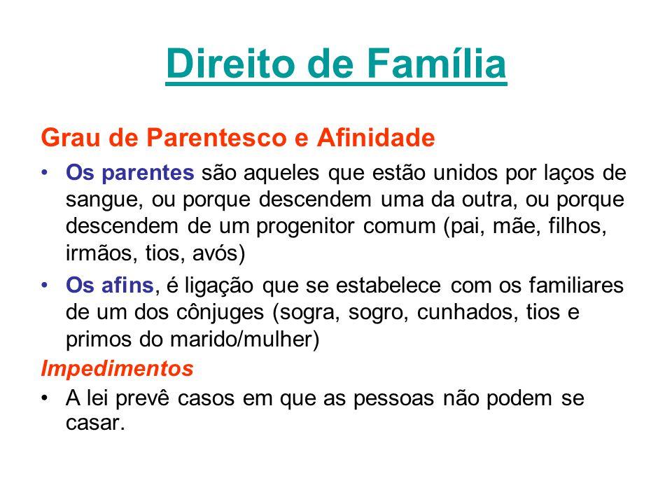 Direito de Família Grau de Parentesco e Afinidade Os parentes são aqueles que estão unidos por laços de sangue, ou porque descendem uma da outra, ou p