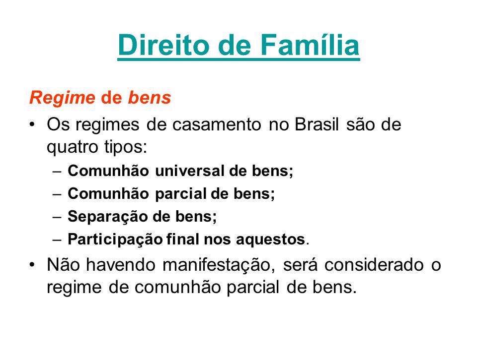 Direito de Família Regime de bens Os regimes de casamento no Brasil são de quatro tipos: –Comunhão universal de bens; –Comunhão parcial de bens; –Separação de bens; –Participação final nos aquestos.