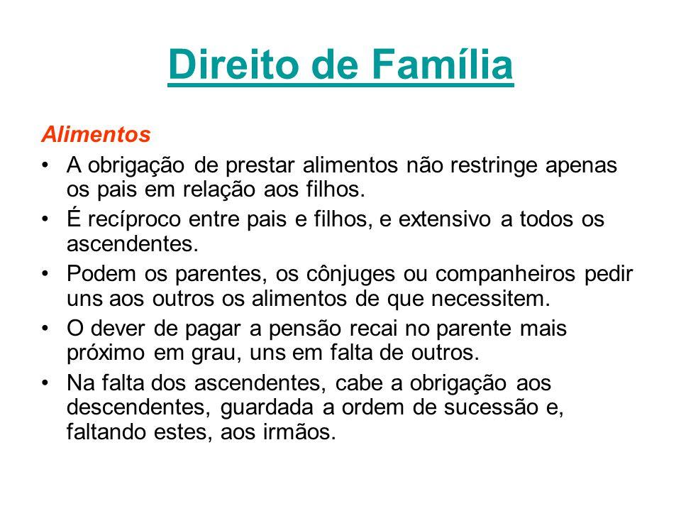Direito de Família Alimentos A obrigação de prestar alimentos não restringe apenas os pais em relação aos filhos. É recíproco entre pais e filhos, e e
