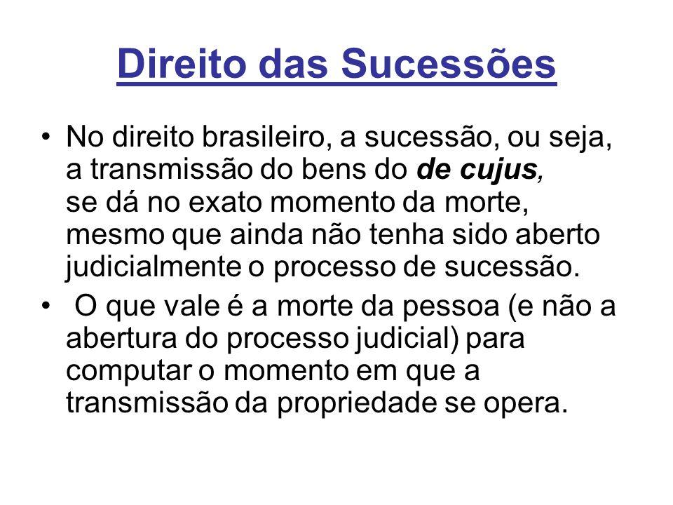 Direito das Sucessões No direito brasileiro, a sucessão, ou seja, a transmissão do bens do de cujus, se dá no exato momento da morte, mesmo que ainda não tenha sido aberto judicialmente o processo de sucessão.