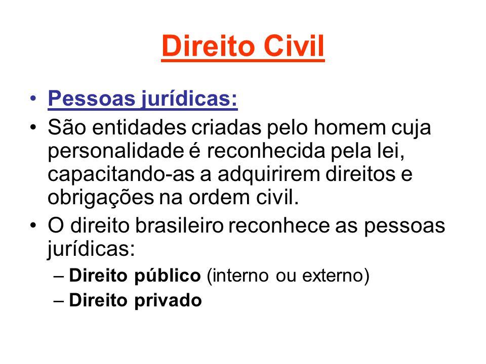 Direito Civil Pessoas jurídicas: São entidades criadas pelo homem cuja personalidade é reconhecida pela lei, capacitando-as a adquirirem direitos e obrigações na ordem civil.