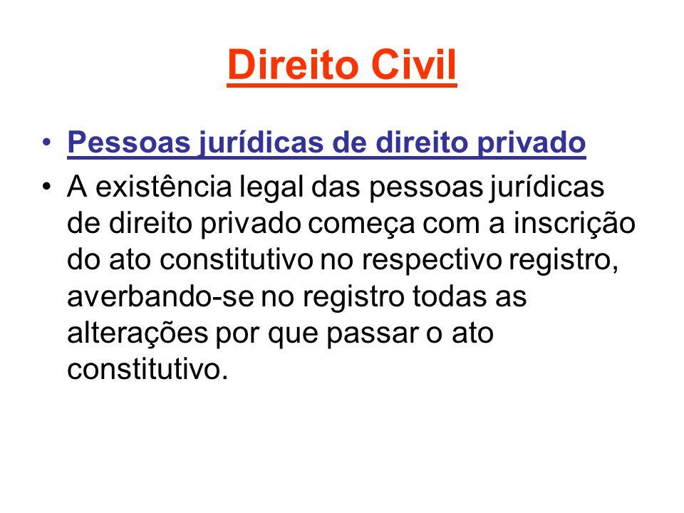 Direito Civil Pessoas jurídicas de direito privado A existência legal das pessoas jurídicas de direito privado começa com a inscrição do ato constitutivo no respectivo registro, averbando-se no registro todas as alterações por que passar o ato constitutivo.