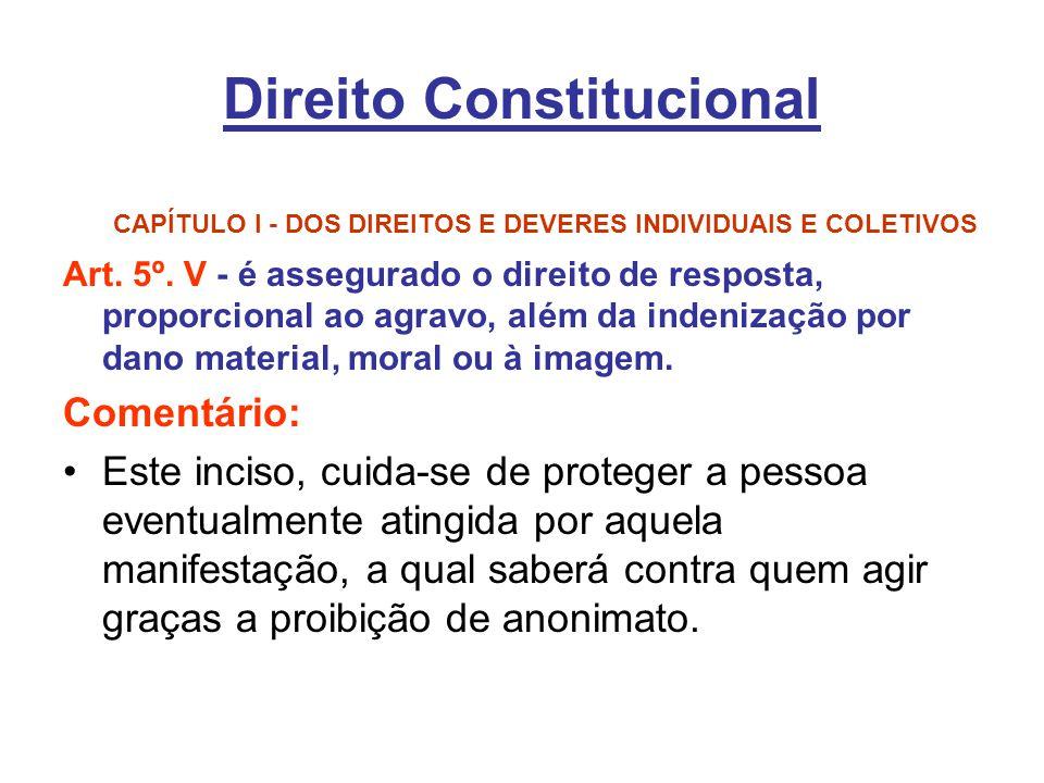 Direito Constitucional CAPÍTULO I - DOS DIREITOS E DEVERES INDIVIDUAIS E COLETIVOS Art. 5º. V - é assegurado o direito de resposta, proporcional ao ag