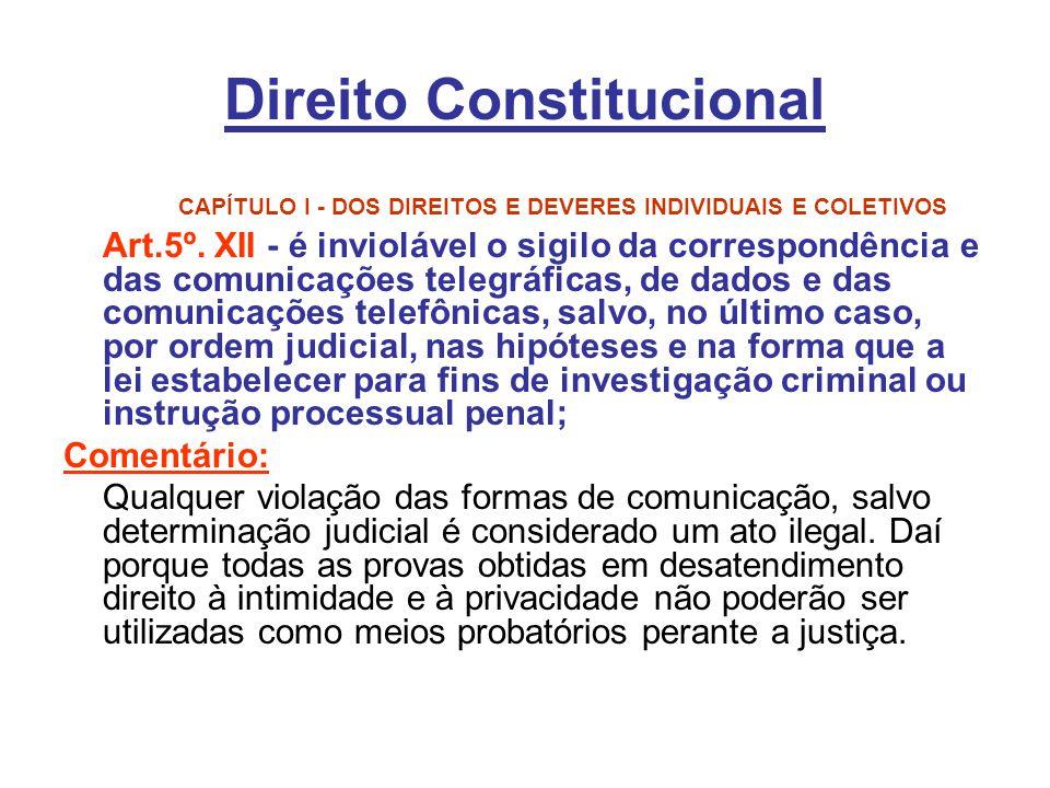 Direito Constitucional CAPÍTULO I - DOS DIREITOS E DEVERES INDIVIDUAIS E COLETIVOS Art.5º. XII - é inviolável o sigilo da correspondência e das comuni
