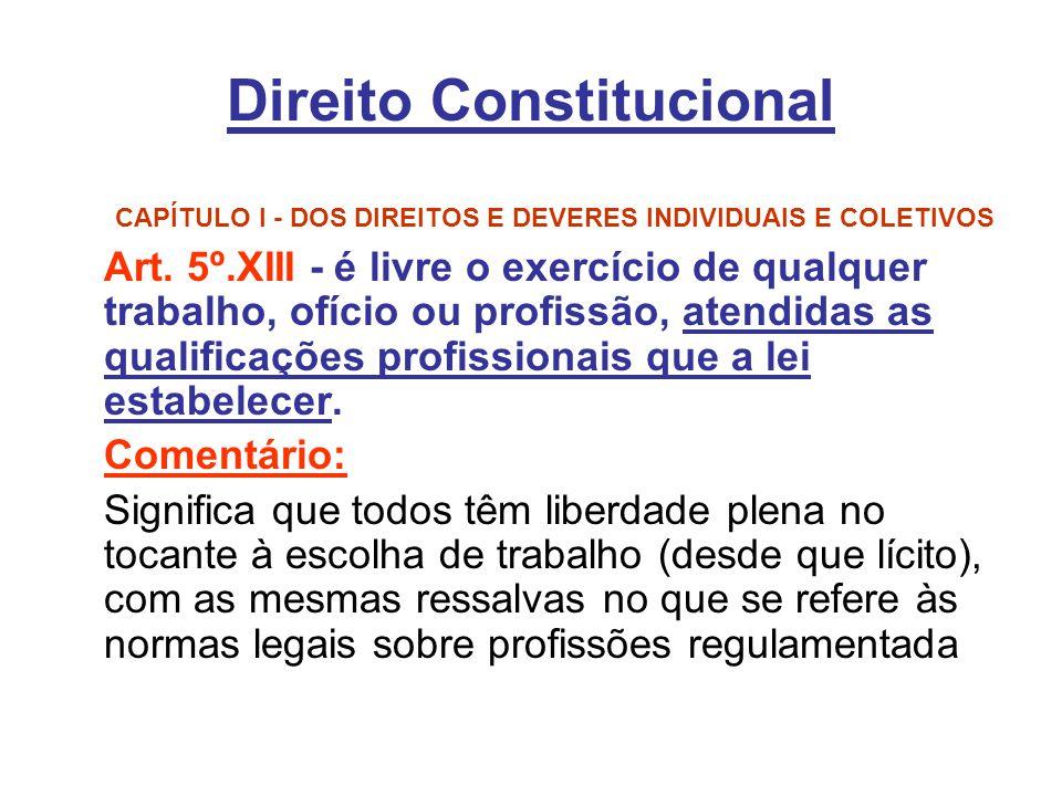 Direito Constitucional CAPÍTULO I - DOS DIREITOS E DEVERES INDIVIDUAIS E COLETIVOS Art. 5º.XIII - é livre o exercício de qualquer trabalho, ofício ou