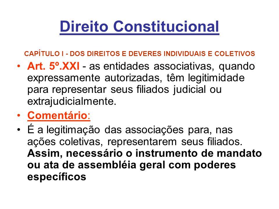 Direito Constitucional CAPÍTULO I - DOS DIREITOS E DEVERES INDIVIDUAIS E COLETIVOS Art. 5º.XXI - as entidades associativas, quando expressamente autor