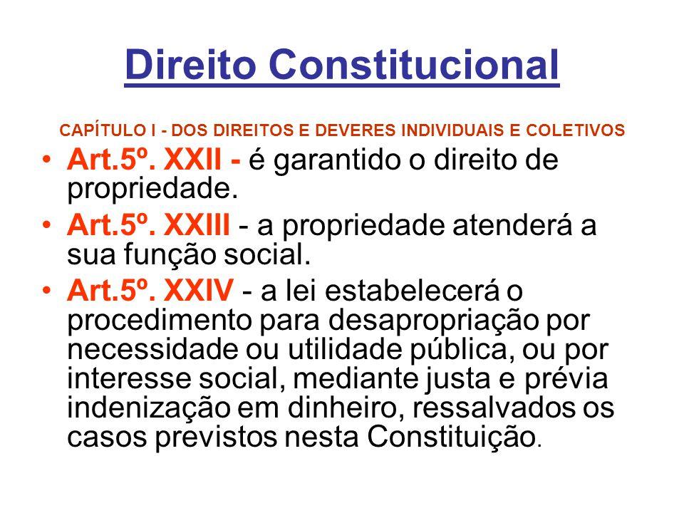 Direito Constitucional CAPÍTULO I - DOS DIREITOS E DEVERES INDIVIDUAIS E COLETIVOS Art.5º. XXII - é garantido o direito de propriedade. Art.5º. XXIII