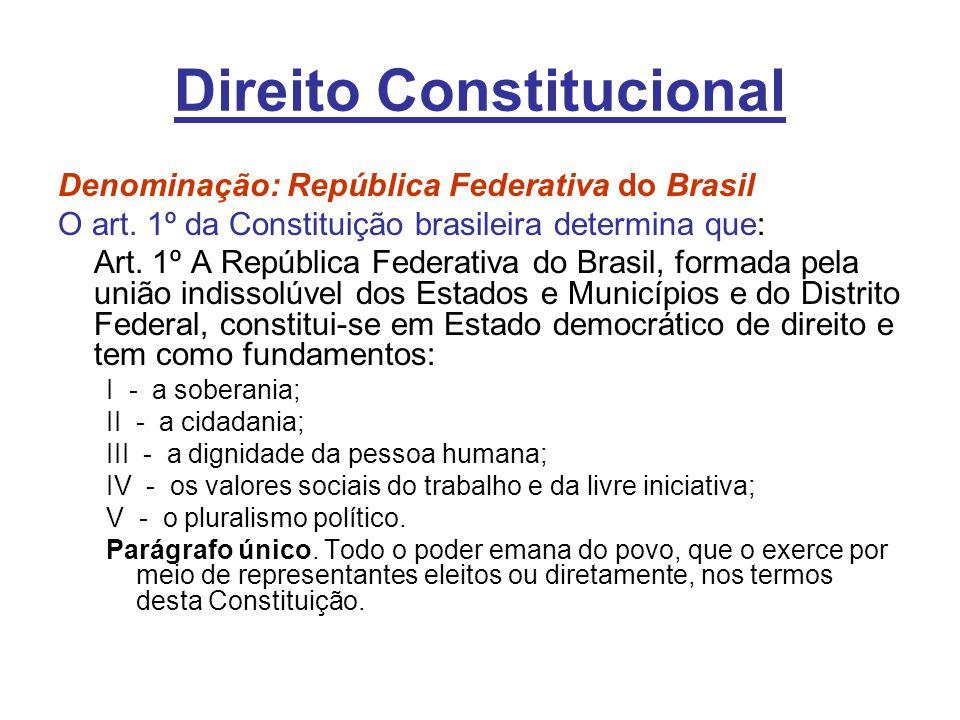 Direito Constitucional Denominação: República Federativa do Brasil O art. 1º da Constituição brasileira determina que: Art. 1º A República Federativa